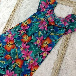 Vintage Hilo Hattie Tropical Hawaiian Dress Muumuu